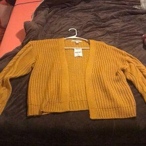 Mustard yellow knit cardigan